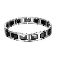 Men's Jewelry Diamond Faceted Two Colour Ceramic Magnetic Bracelet - Gelang Pria - Gelang Kesehatan -