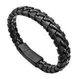 Jual Men S Jewelry Don Black Leather Bracelet Titanium Steel Gelang Kulit Gelang Pria Hitam 20Cm Men S Jewelry Branded