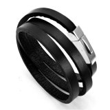 Katalog Men S Jewelry Three Layers Genuine Leather Bracelet Titanium Steel Gelang Kulit Gelang Pria Hitam Terbaru