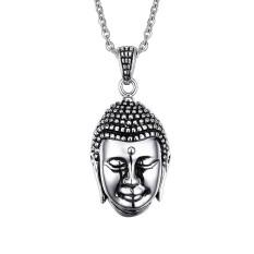 Pria Dipoles India Thailand Devout Buddha Choker Vintage Stainless Steel Liontin Pada Kalung Rantai Perhiasan-Intl