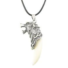 Pria Silver Antik Suku Putih Mencolok Wolf Fang Gigi Boho Liontin Kalung S
