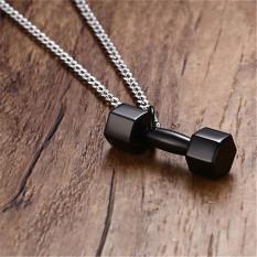 Hitam Enamel Silver Tone Stainless Steel Yin Yang Delapan Diagram Kalung Liontin 60 Cm SS Chain