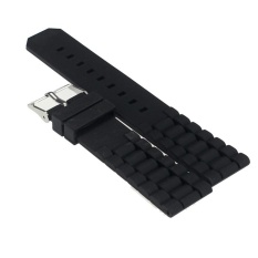 Mens Hitam Silicone Rubber Diver Watch Band Tali untuk Fossil Nate 22mm-Intl