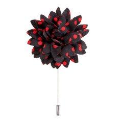 Men's Boutonniere Lapel Flower Daisy Handmade Stripe Red - intl