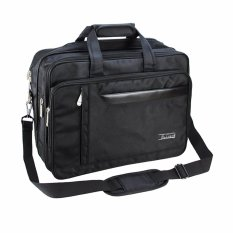 Pria Classic Carry-all Business Briefcase Shoulder Messenger Laptop Bag Expandable Tas untuk 15.6 16 Inch Komputer Macbook Pro MacBook Air Ultrabooks Travel Satchel Hitam-Intl