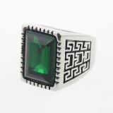 Men S Cool Silver 316L Stainless Steel Green Square Gemstone Kaca Dicor Ukuran A S 7 11 Intl Asli
