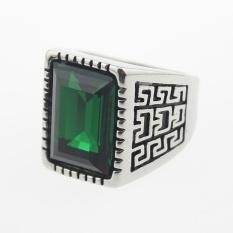 Beli Men S Cool Silver 316L Stainless Steel Green Square Gemstone Kaca Dicor Ukuran A S 7 11 Intl Kredit