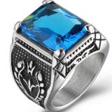Jual Beli Pria Domineering Titanium Baja Cincin Bertatahkan Batu Permata Biru Baru Tiongkok