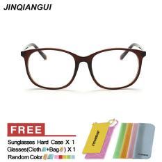 Review Tentang Jinqiangui Kacamata Bingkai Pria Rectangle Kacamata Coklat Hapus Lensa Fashion