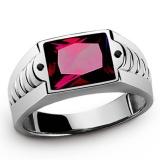 Toko Mens Fashion 18 K Platinum Berlapis Emas Sapphire Garnet Cz Wedding Ring Hadiah Ukuran 8 15 Intl Termurah