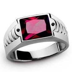 Diskon Mens Fashion 18 K Platinum Berlapis Emas Sapphire Garnet Cz Wedding Ring Hadiah Ukuran 8 15 Intl Tiongkok