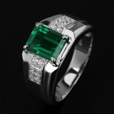 Spesifikasi Mens Fashion 18 K Emas Putih Disepuh Emerald Zircon Kawin Cincin U S Ukuran 8 15 Intl Oem Systems Company Terbaru