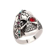 Jual Mens Perhiasan Individu Cincin Tengkorak Punk Kristal Perak Antik Ring 20Mm Intl Branded