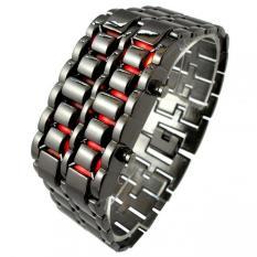Pria Lava Merah LED Digital Stainless Steel Jam Gelang Hitam