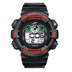 Mens LED Digital Date Sport Karet Kedap Air Alarm Army Watch Jam Tangan Merah-Intl