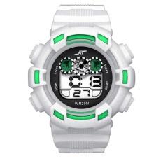 Mens LED Digital Date Sport Karet Kedap Air Alarm Army Watch Arloji Putih
