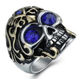 Jual Men S Personality Titanium Steel Skull Ring Red Murah Tiongkok