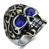 Men S Personality Titanium Steel Skull Ring Red Diskon Tiongkok