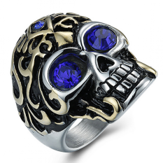 Model Men S Personality Titanium Steel Skull Ring Red Terbaru