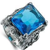 Jual Pria Retro Domineering Precious Stone Cincin Biru Di Tiongkok