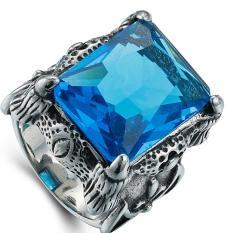 Beli Pria Retro Domineering Precious Stone Cincin Biru Cicilan