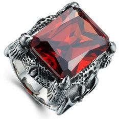 Pria Dominan Retro Cincin Batu Mulia Merah