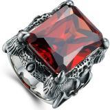 Jual Beli Online Pria Retro Domineering Precious Stone Cincin Merah
