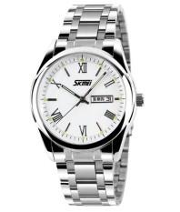 Skmei Jam Tangan Pria Silver Stainless Steel Band Wrist 9056 White Skmei Diskon