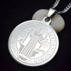 Pria Silver Nada Stainless Steel Santo Pelindung St Benedict Medali Suci Liontin Kalung Rantai Kekang Ss 60 Cm Asli