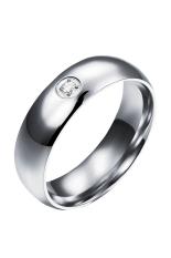 Wanita Sederhana Berlian Baja Titanium Pasangan Cincin (Perak) (Intl)