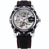 Cara Beli Men S Skeleton Automatic Mechanical Black Silicone Band Sport Wrist Watch Pmw081 Jam Tangan Pria Kulitv Intl