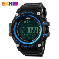 Olahraga Pria Tahan Air Jam Tangan Digital Smart Pedometer Bluetooth Watch Skmei 1227 Biru Hitam Asli