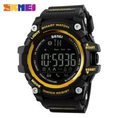 Beli Barang Olahraga Pria Tahan Air Jam Tangan Digital Alat Pengukur Langkah Cerdas Bluetooth Watch Skmei 1227 Emas Hitam Online