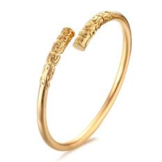 Pria Buddha kuno terbuat dari besi baja hitam berlapis sempit buka manset gelang emas - International