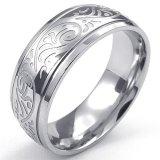 Jual Mens Stainless Steel Ring Desain Terikat Charm 8Mm Band Silver Murah
