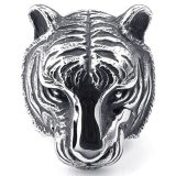 Mens Stainless Steel Ring Gothic Tiger Black Silver Terbaru