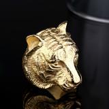 Beli Pria Cincin Stainless Steel Emas Tiger Gotik Pake Kartu Kredit