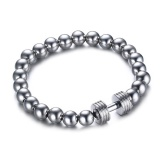 Jual Mens Stainless Steel Silver Dumbbell Charm Bracelet With 8Mm Beads Chain Fitness Jewelry Power Gym Intl Oem Grosir