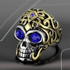 Pria Tanpa Stainless Steel Diamond Cincin Tengkorak Bocah Halloween Yang Biru Diskon Tiongkok