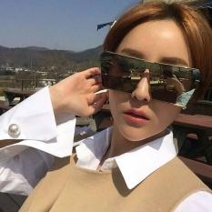 Kacamata Hitam Pria Retro Gaya Bingkai Besar Square Colorful Sunglasses-Silver Frame Mercury Lembar