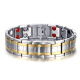 Beli Mens Titanium Healthy Magnetic Therapy Bracelet Two Tone High Polished Intl Murah Di Tiongkok
