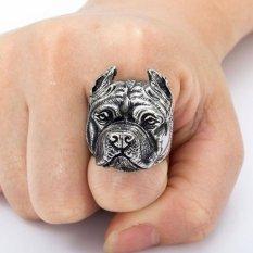 Jual Beli Online Men S Titanium Cincin Baja Bulldog Dog Head Cincin Perhiasan Hadiah Intl
