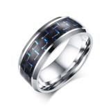 Spesifikasi Wolfram Pria Cincin Pernikahan Band Hitam And Biru Serat Karbon Tatahan And Miring Ujung Ujungnya 8Mm W Oem