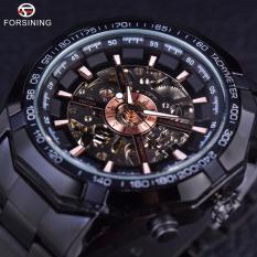 Pria Watch Hitam Stainless Steel Tahan Terhadap Udara Militer Olahraga Kasual Mekanis Wrist Watch Top Merek Mewah Jam (Hitam Emas)