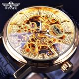 Promo Mens Watches 2017 Classic Design Transparent Golden Mechanical Movement Inside Top Brand Luxury Skeleton Watch Clock Intl Murah