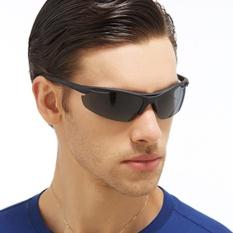 Pria Wanita Terpolarisasi Olahraga Pria Kacamata Hitam Kacamata Jalan Bersepeda Gunung Sepeda Sepeda Memancing Daki Gunung UV400 Perlindungan Goggle JH0037-01 (HITAM) -Internasional