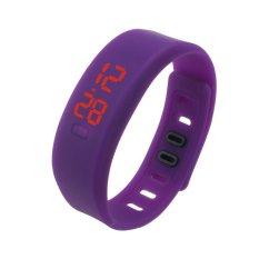 Mens Womens Karet LED Watch Date Olahraga Gelang Digital Jam Tangan Ungu