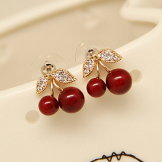 Review Merah 925 Sterling Silver Jarum Kecil Cherry Anting Other Di Tiongkok