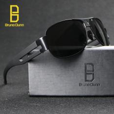 Bruno Dunn Merek Deisgner Aviator Unisex Retro Aluminium + TR90Sunglasses Terpolarisasi Lensa Vintage Eyewear Aksesoris Sun Kacamata untuk Pria/Wanita 8459 (hitam Frame Abu-abu Lense)