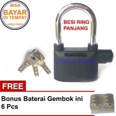 Merk Kinbar Gembok Alarm Besar Tipe Ring Panjang Super Kuat - Bonus Bateray Cadangan 6 Pcs